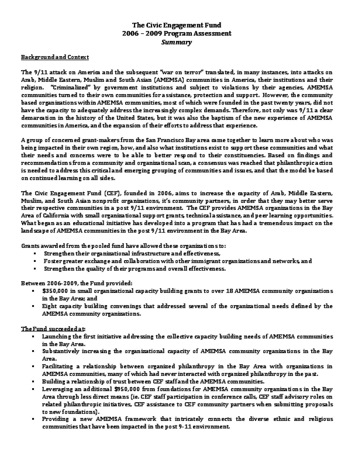 The Civic Engagement Fund 2006-2009 Program Assessment Summary