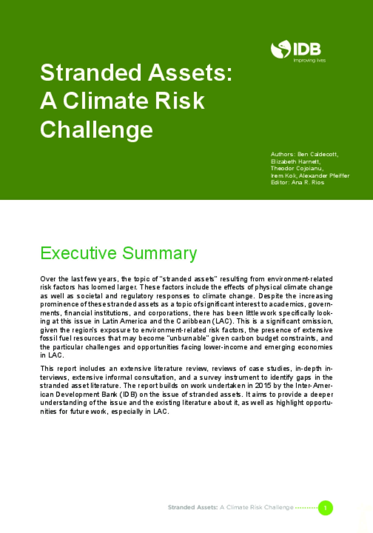 Stranded Assets: A Climate Risk Challenge, Executive Summary
