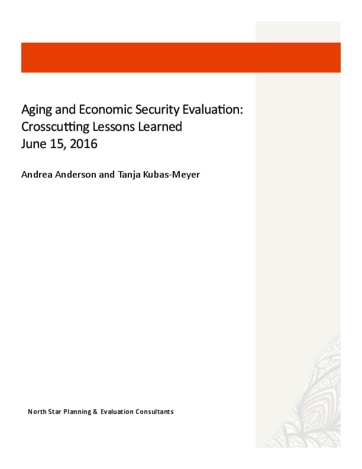 Aging and Economic Security Evaluation: Crosscutting Lessons Learned
