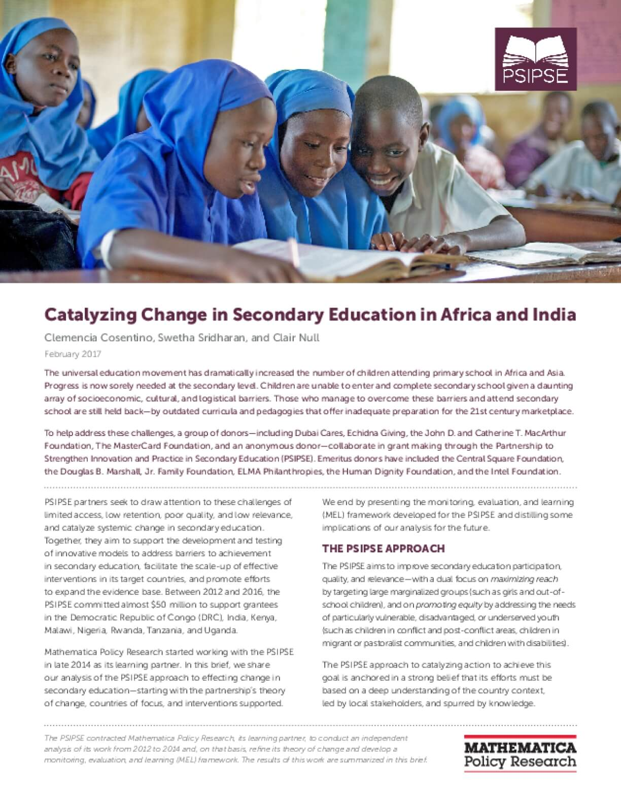 Catalyzing Change in Secondary Education in Africa and India