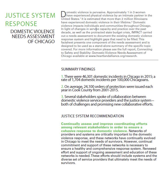 Factsheet: Justice Response (DV Landscape Report