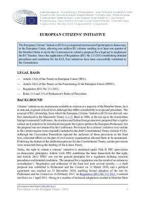 European Citizens' Initiative - EU Fact Sheets