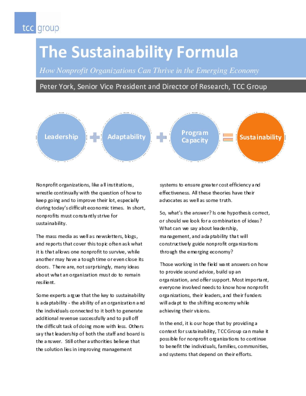 The Sustainability Formula: How Nonprofit Organizations Can Thrive in the Emerging Economy
