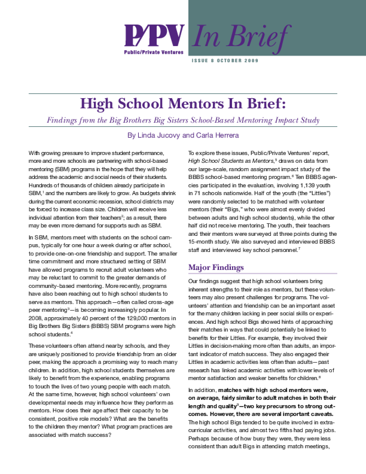High School Mentors In Brief: Findings from the Big Brothers Big Sisters School-Based Mentoring Impact Study