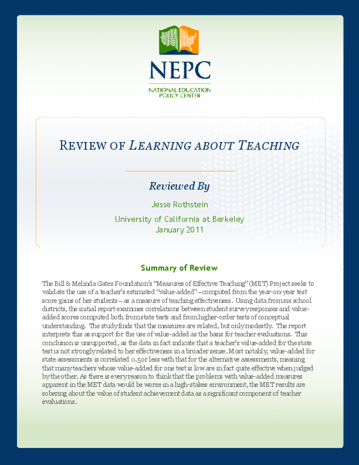 Review of Measures of Effective Teaching