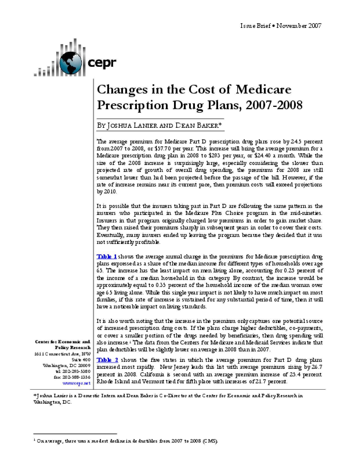 Changes in the Cost of Medicare Prescription Drug Plans, 2007-2008