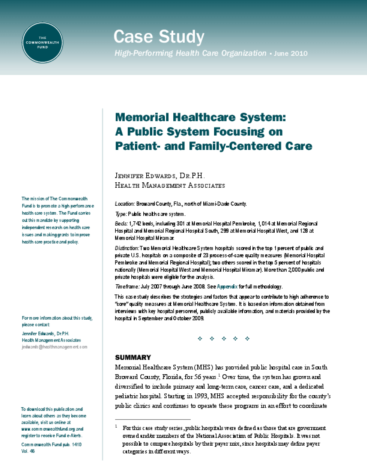 Memorial Healthcare System: A Public System Focusing on Patient- and Family-Centered Care