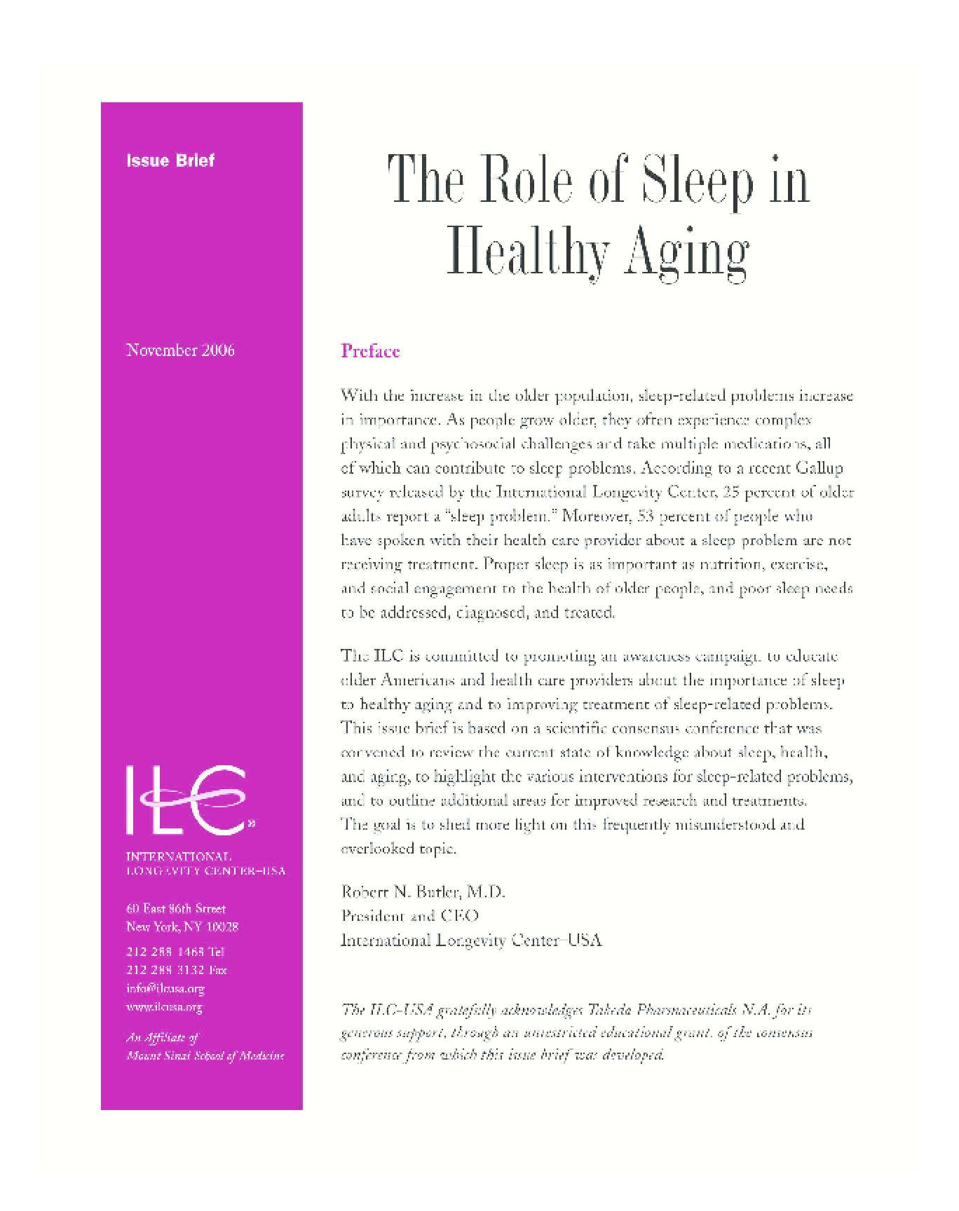 The Role of Sleep in Healthy Aging