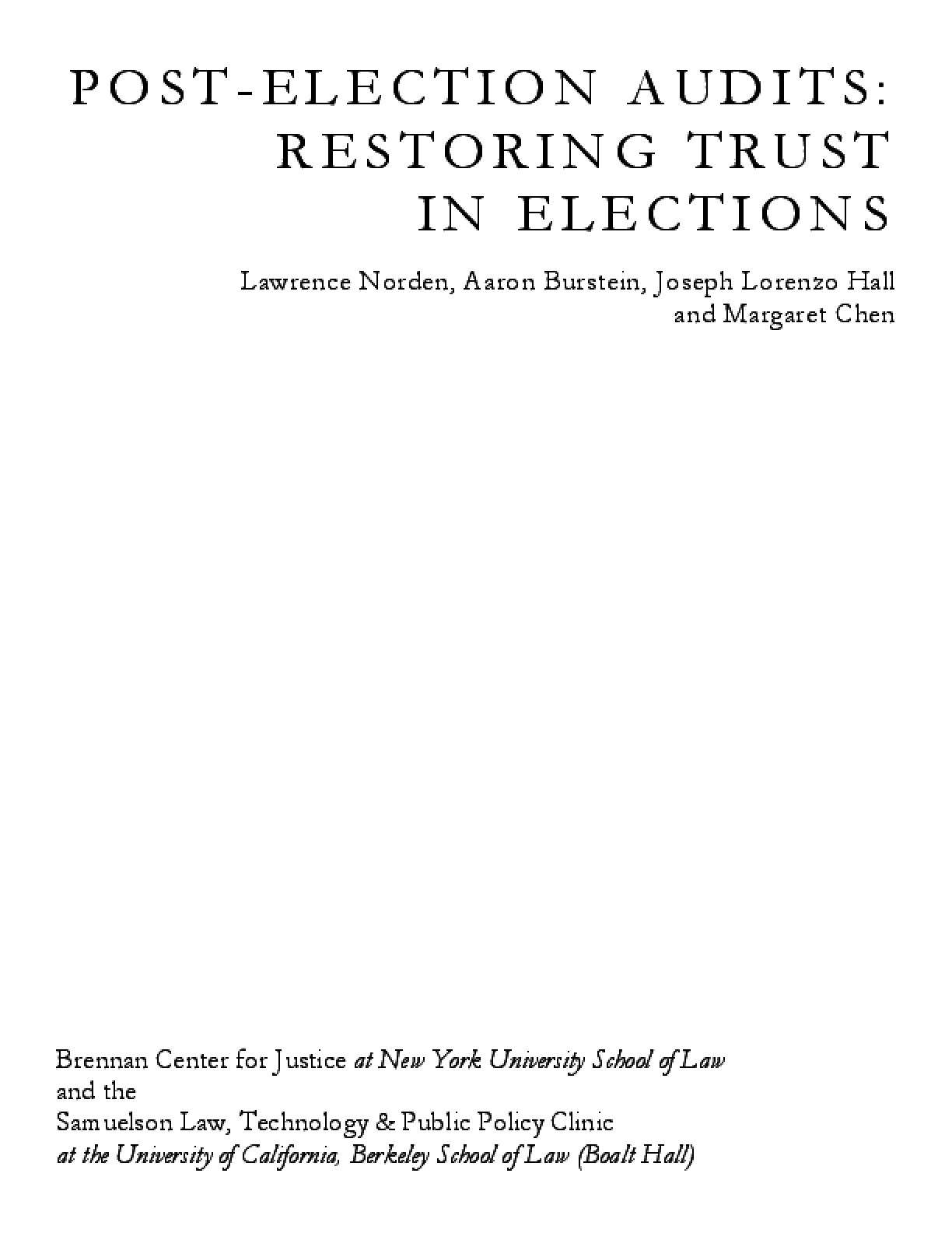 Post-Election Audits: Restoring Trust in Elections