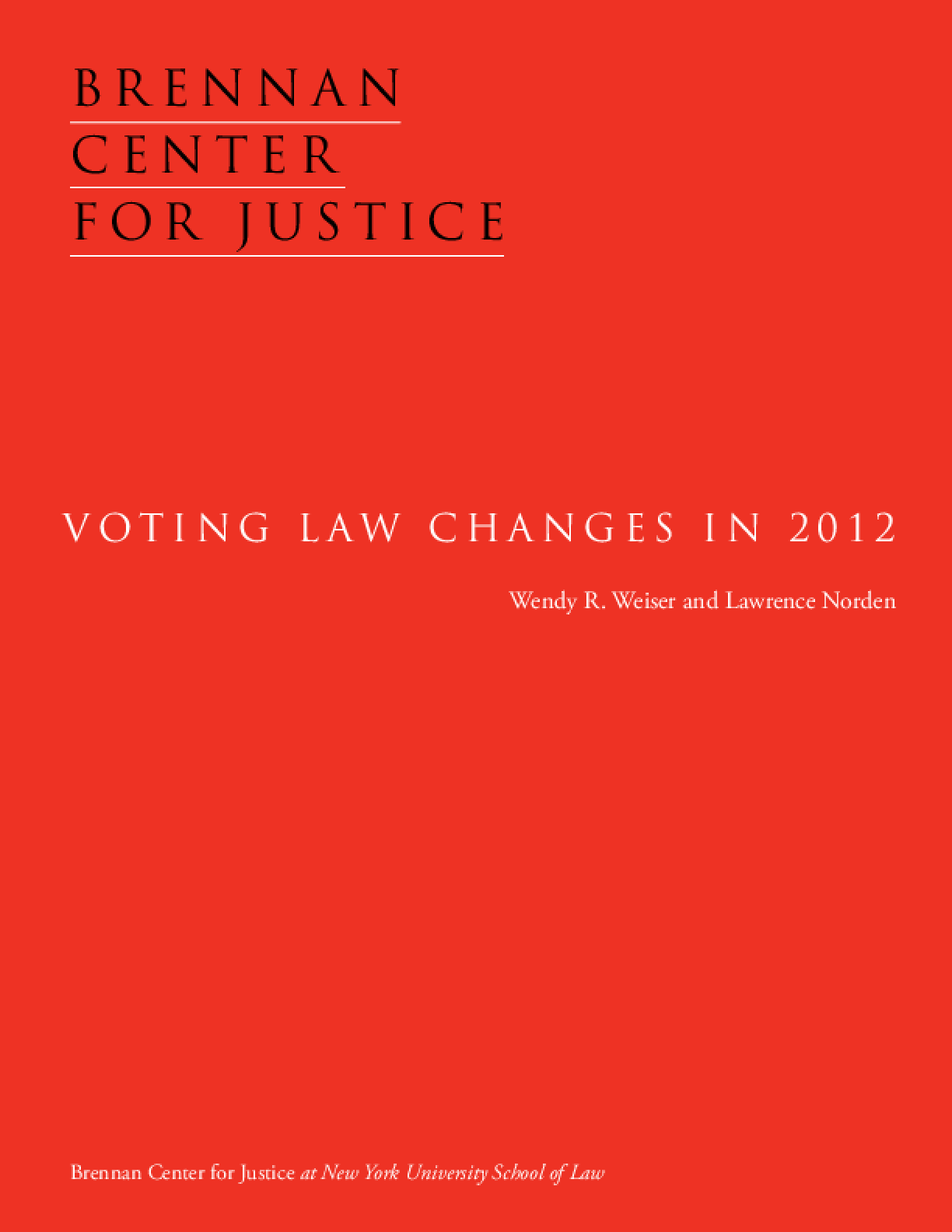 Voting Law Changes in 2012