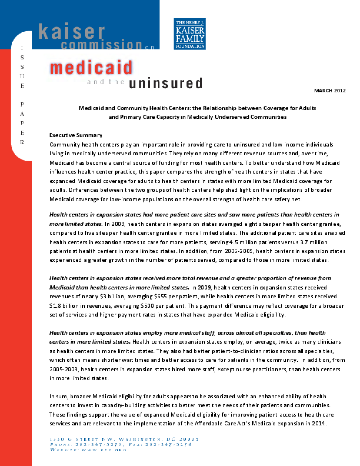 Medicaid and Community Health Centers: The Relationship Between Coverage for Adults and Primary Care Capacity in Medically Underserved Communities