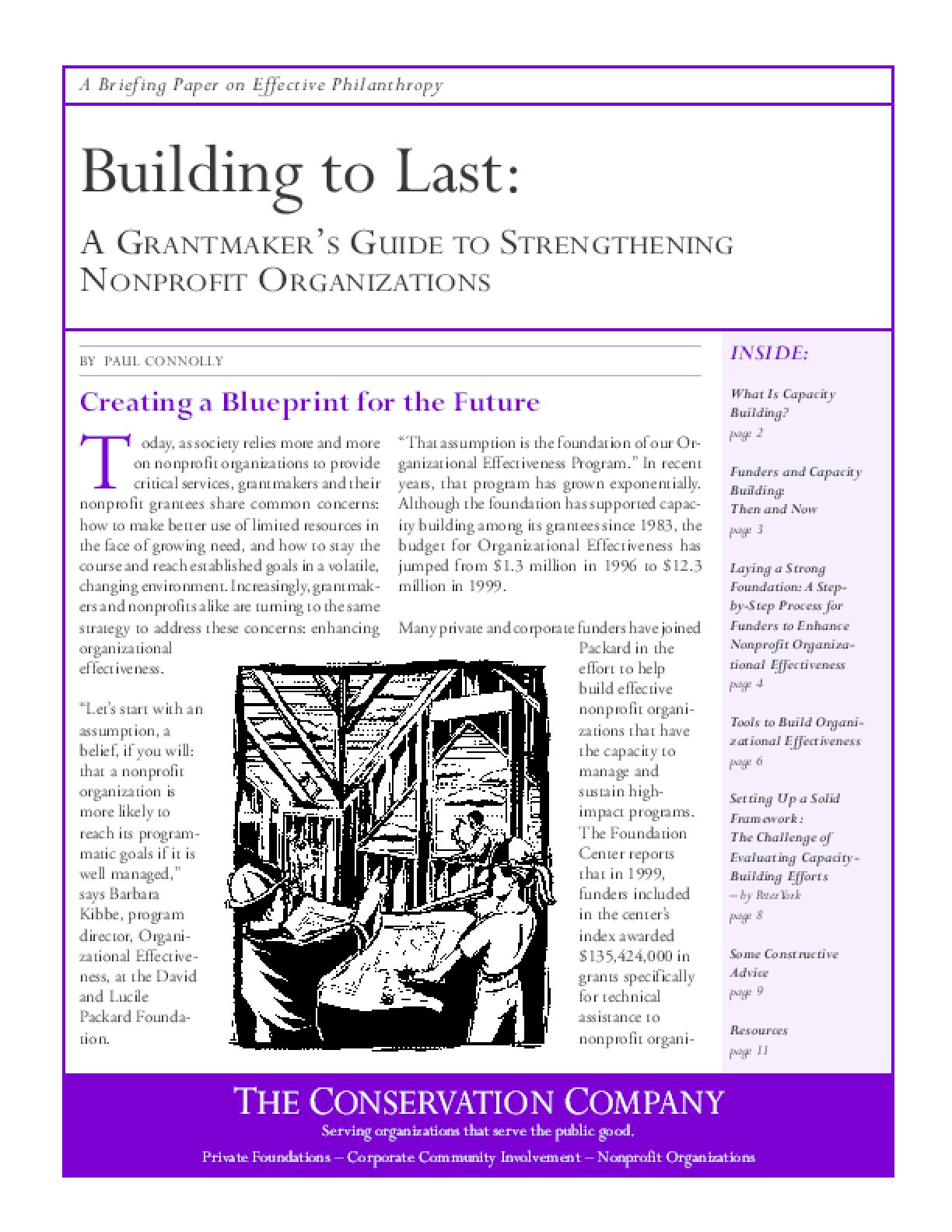 Building to Last: A Grantmaker's Guide to Strengthening Nonprofit Organizations, A Briefing Paper on Effective Philanthropy