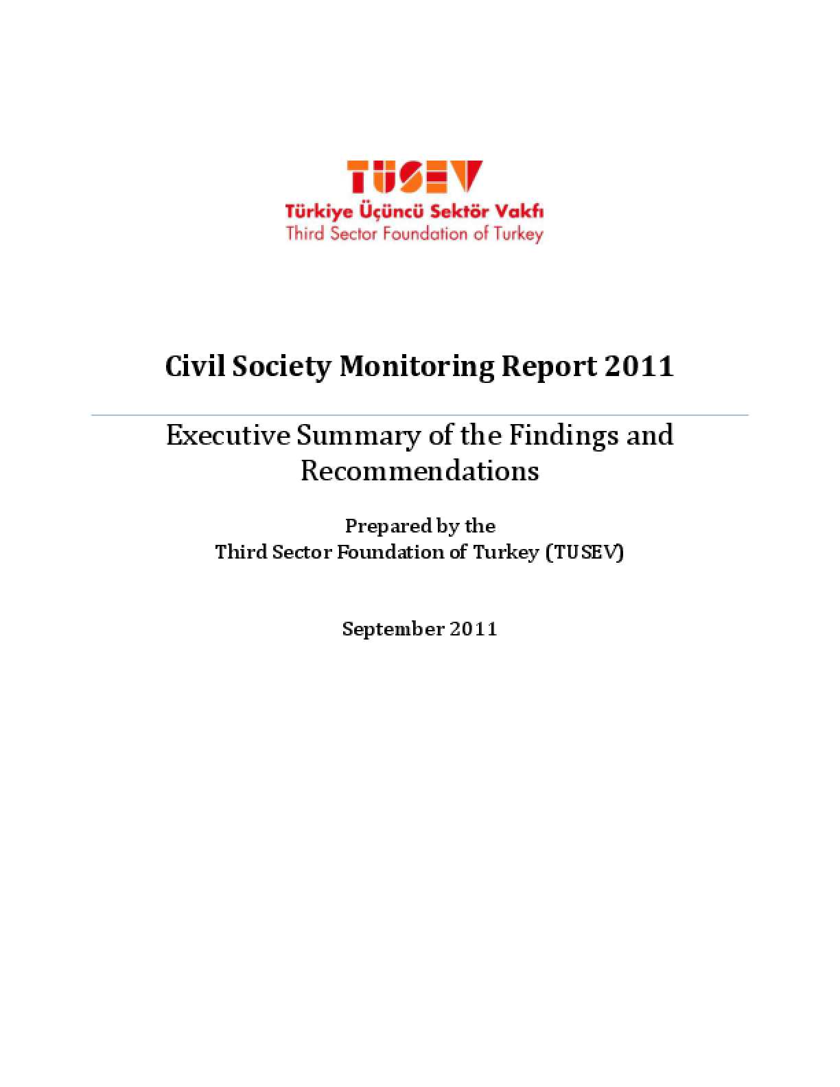 Civil Society Monitoring Report 2011: Executive Summary of the Findings and Recommendations