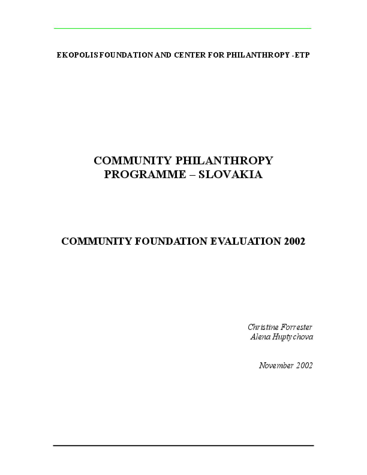 Community Philanthropy Programme - Slovakia: Community Foundations Evaluation 2002