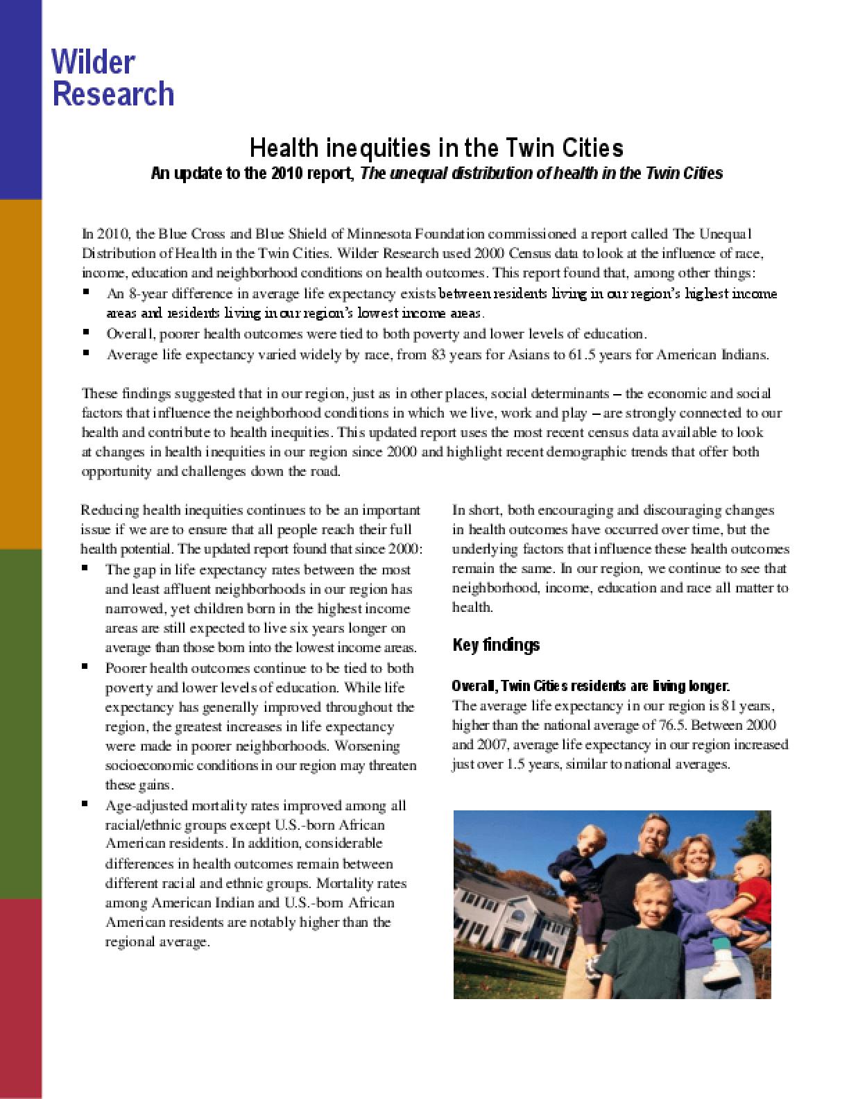 Health Inequities in the Twin Cities