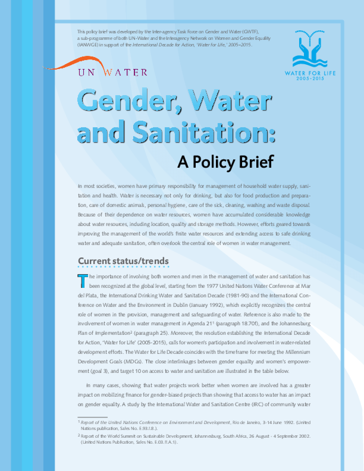 Gender, Water and Sanitation: A Policy Brief