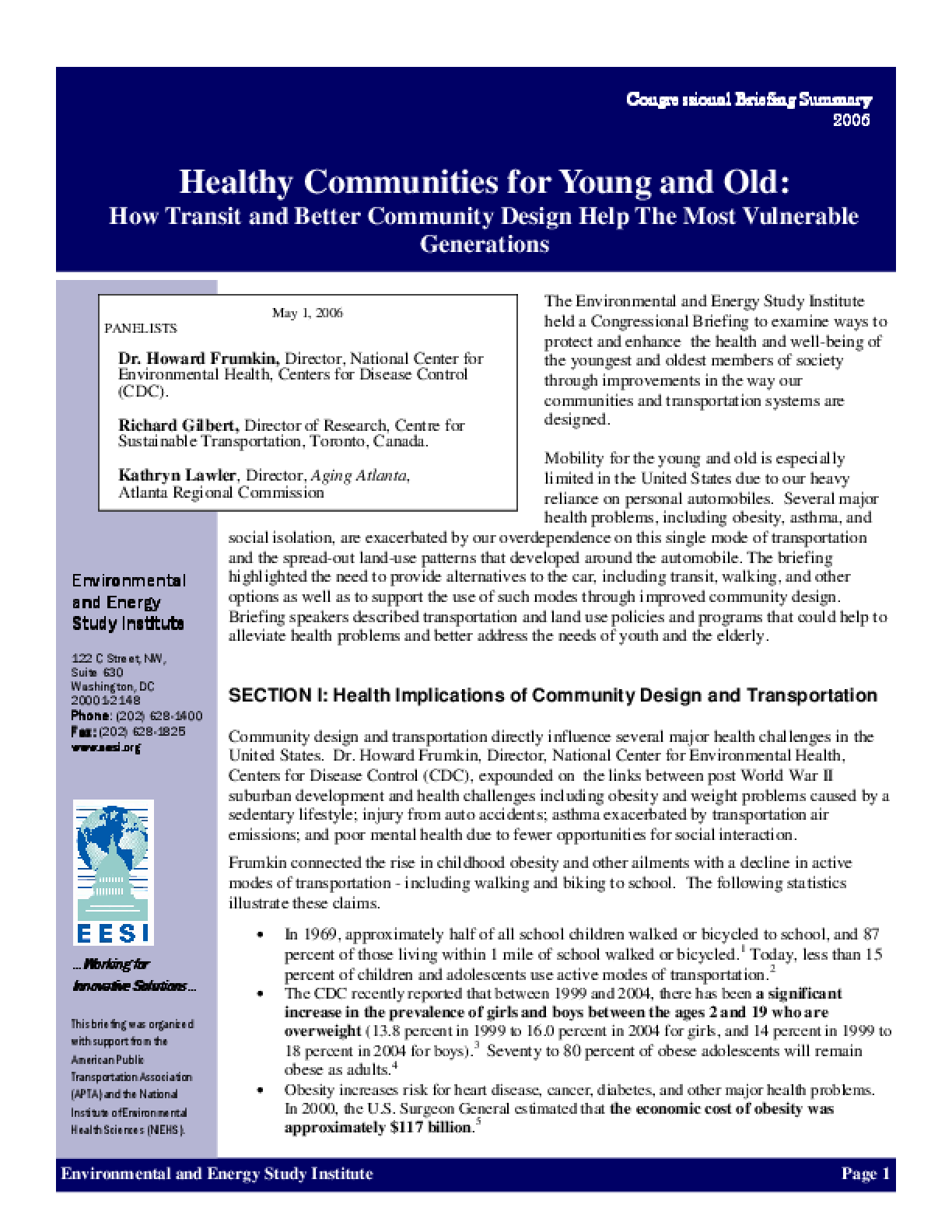 Healthy Communities for Young and Old: How Transit and Better Community Design Help The Most Vulnerable Generations