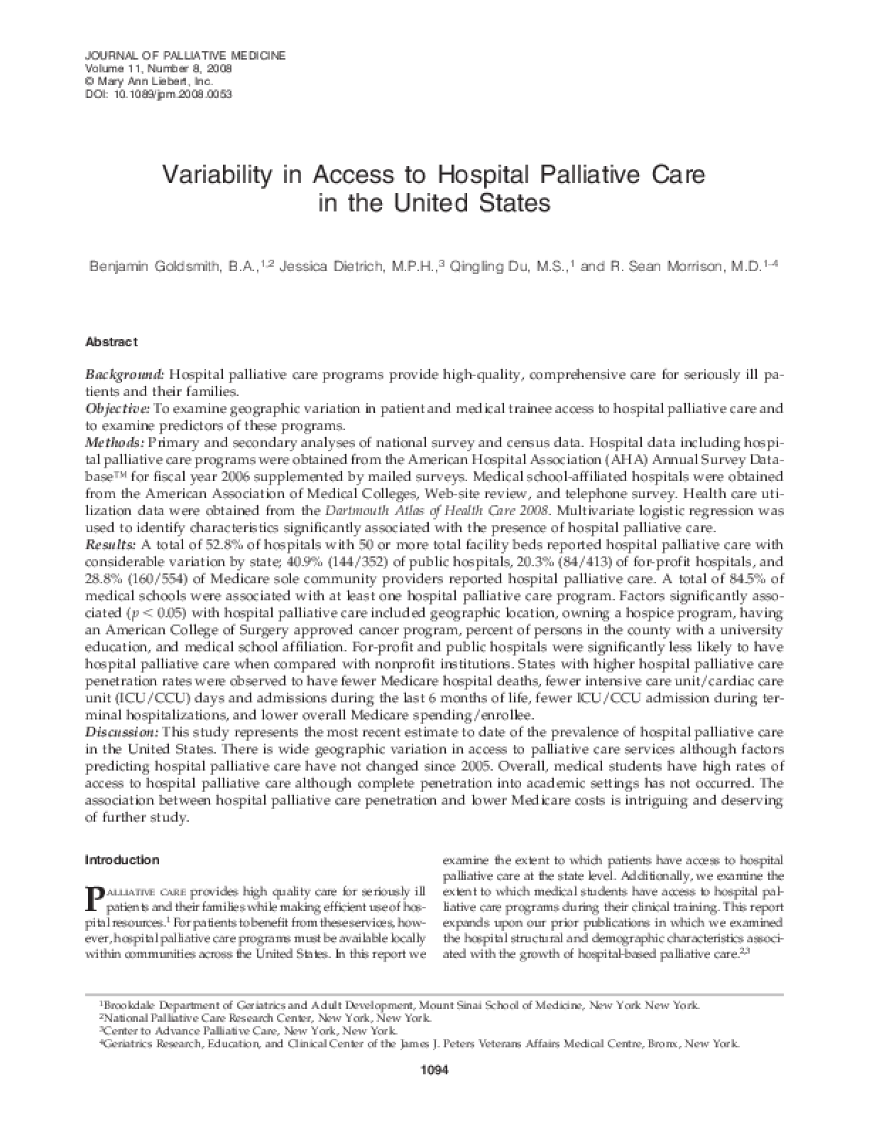 Variability in Access to Hospital Palliative Care in the United States