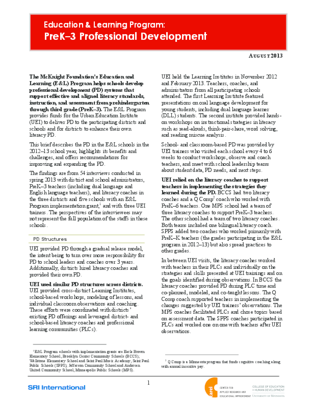PreK-3 Professional Development Evaluation Brief