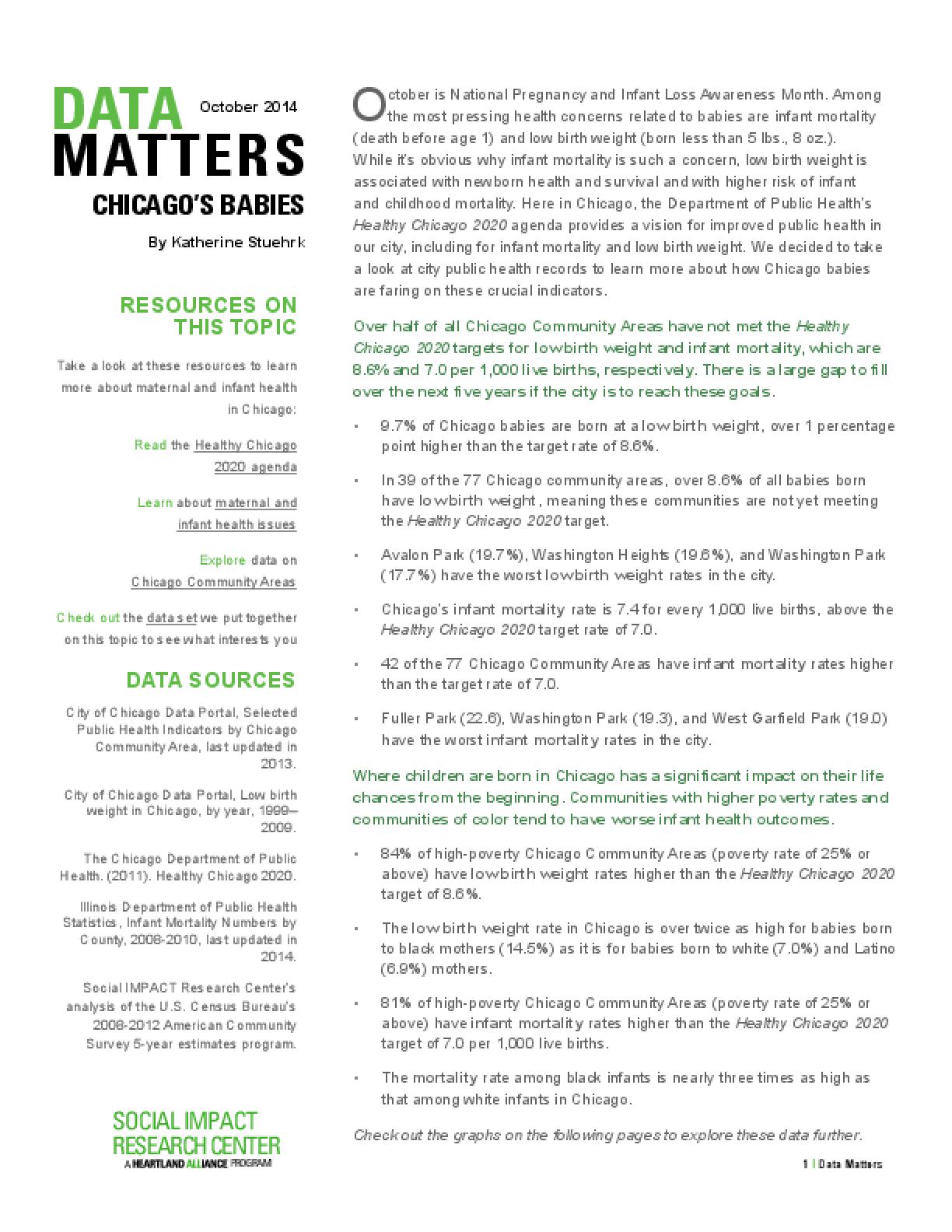 Data Matters: Chicago's Babies