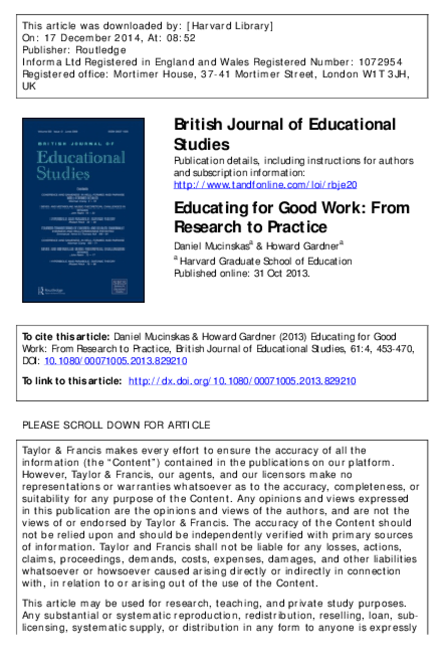 Educating for Good Work: From Research to Practice