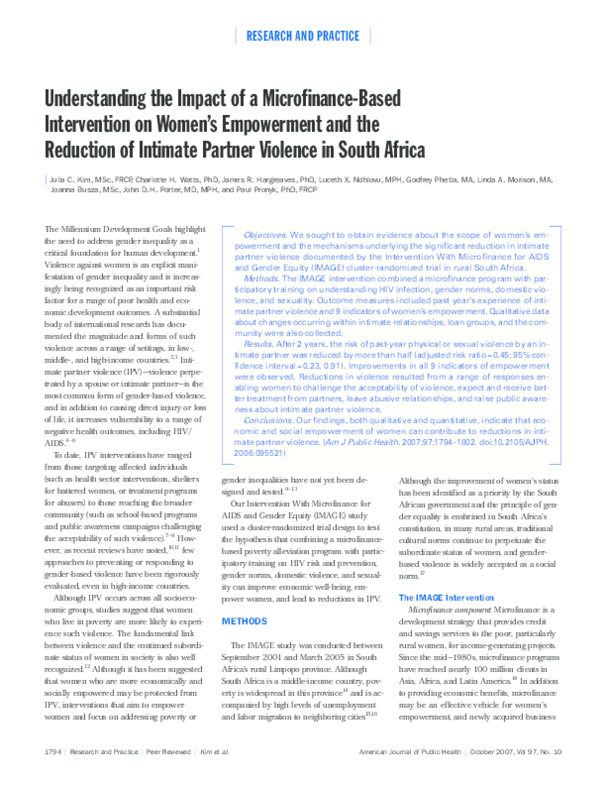 Understanding the impact of a microfinance-based intervention on women's empowerment and the reduction of intimate partner violence in South Africa