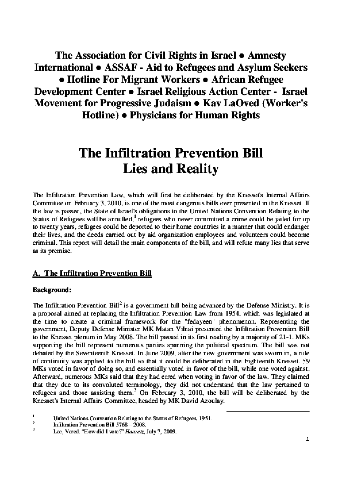 The Infiltration Prevention Bill Lies and Reality