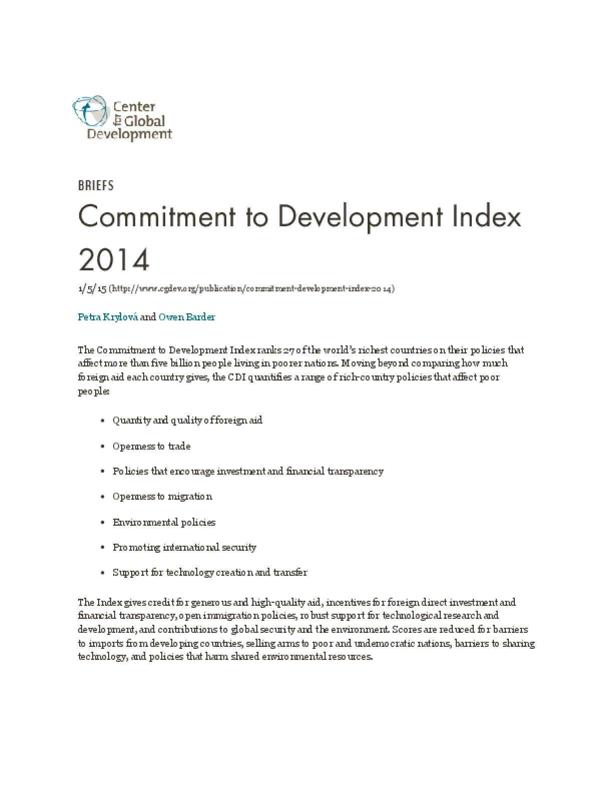 Commitment to Development Index 2014