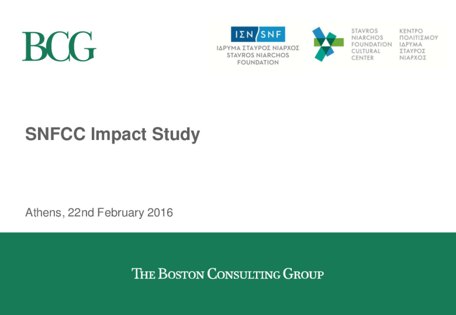 Stavros Niarchos Foundation Cultural Center (SNFCC) Impact Study
