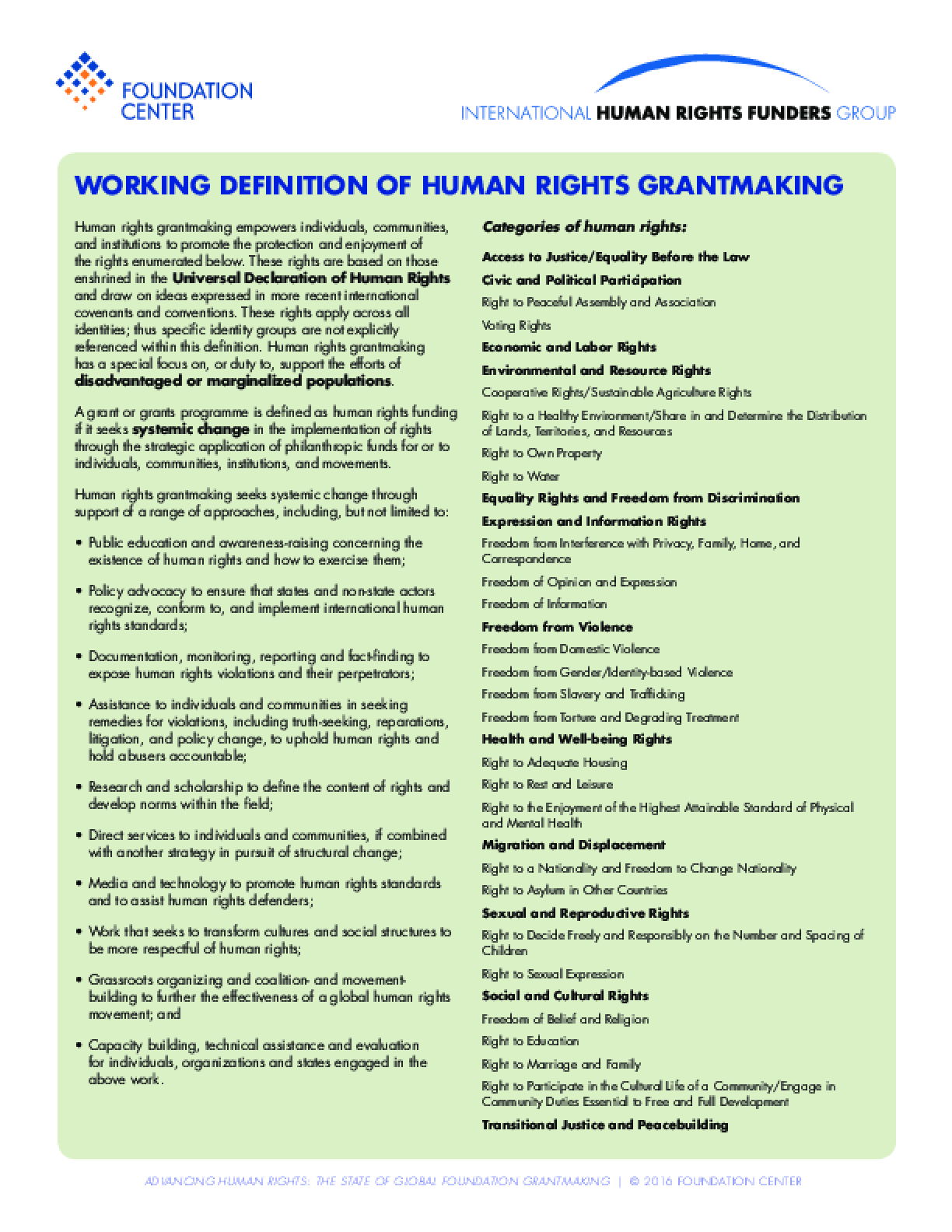 Advancing Human Rights: The State of Global Foundation Grantmaking - Working Definition of Human Rights Grantmaking