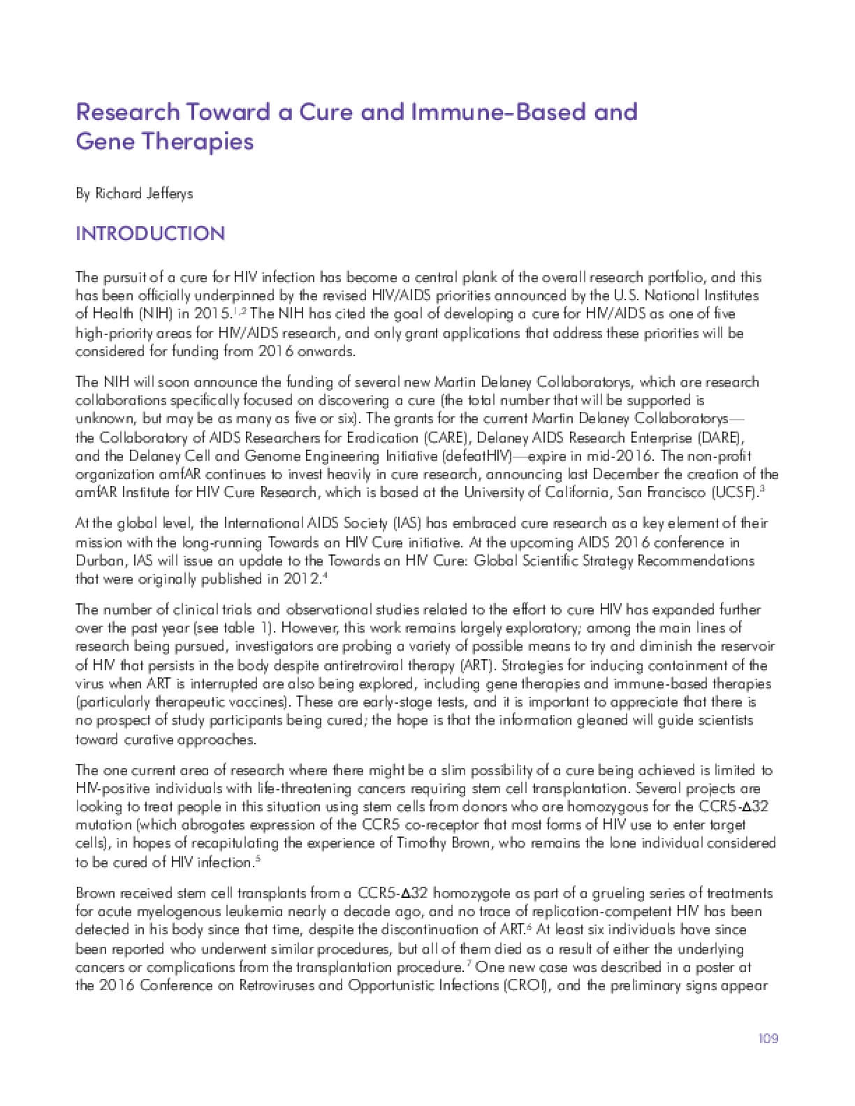 Research Toward a Cure and Immune-Based and Gene Therapies