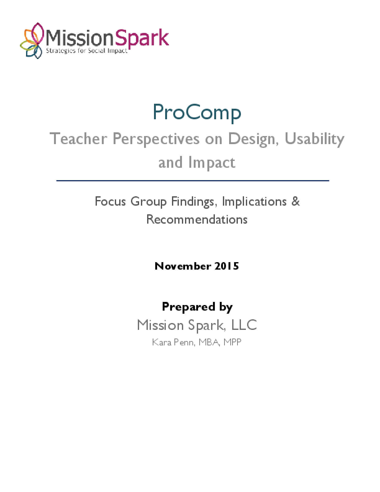 ProComp Teacher Perspectives on Deisng, Usability, and Impact: Focus Group Findings, Implications & Reccomendations