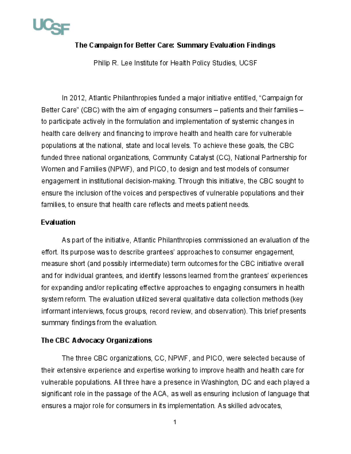 The Campaign for Better Care: Summary Evaluation Findings
