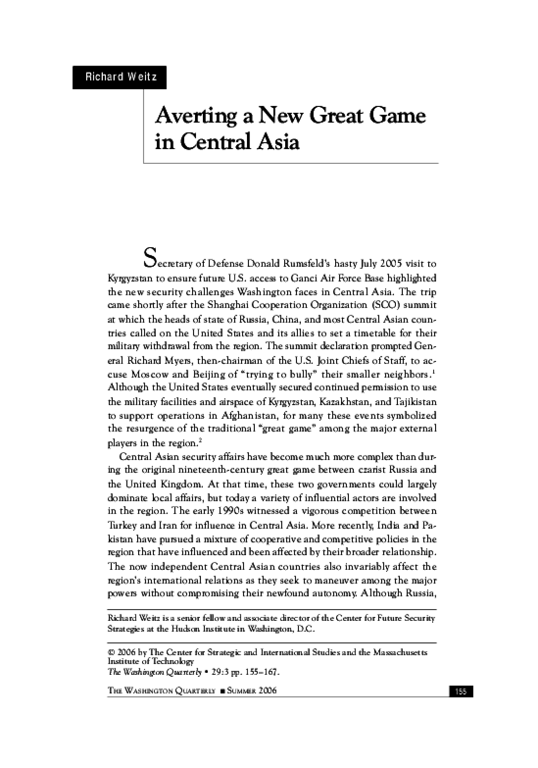 Averting A Great Game in Central Asia