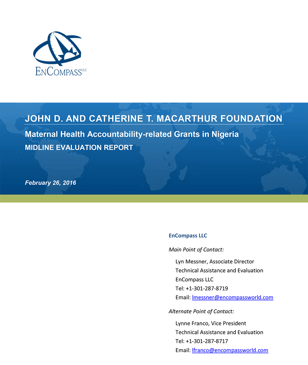 Maternal Health Accountability-related Grants in Nigeria: Midline Evaluation Report