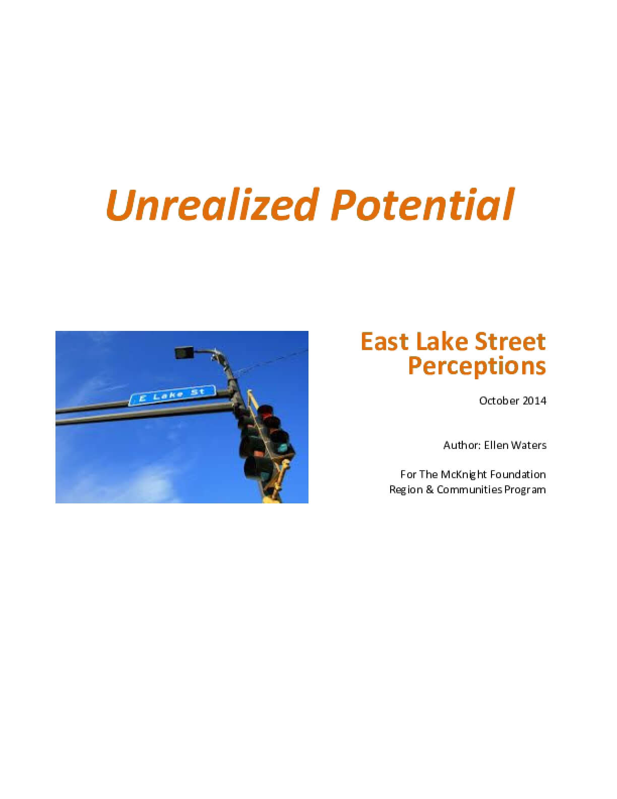 Unrealized Potential: East Lake Street Perceptions
