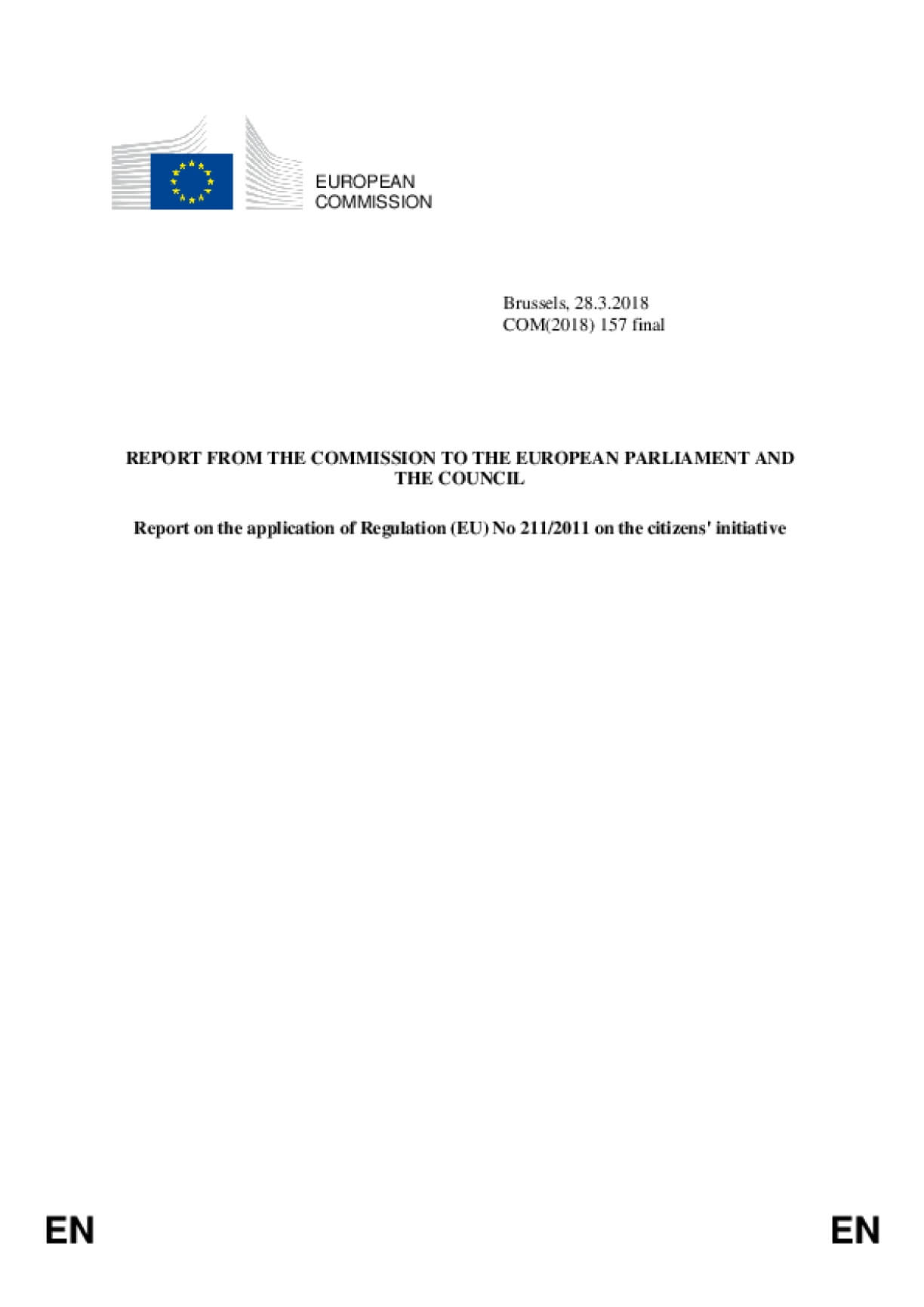 Report on the application of Regulation (EU) No 211/2011 on the citizens' initiative 2018