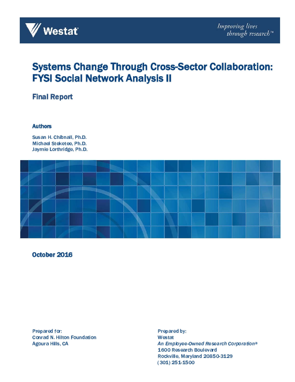 Systems Change through Cross-Sector Collaboration: FYSI Social Network Analysis II