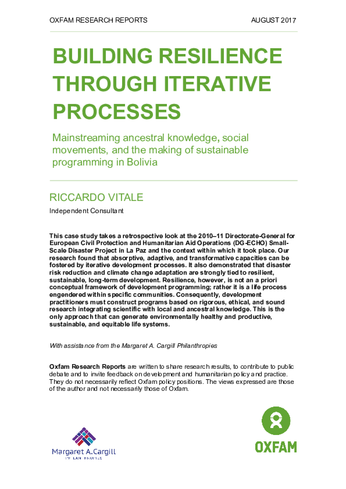 Building Resilience through Iterative Processes: Mainstreaming ancestral knowledge, social movements, and the making of sustainable programming in Bolivia