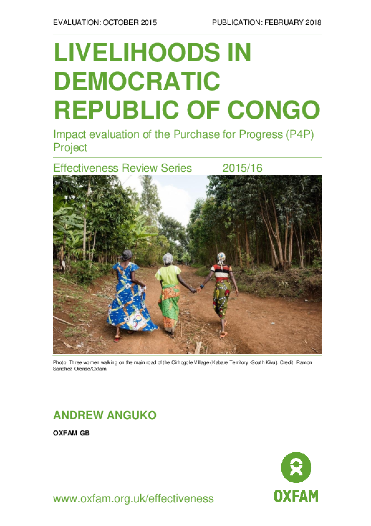 Livelihoods in Democratic Republic of Congo: Impact evaluation of the Purchase for Progress (P4P) Project