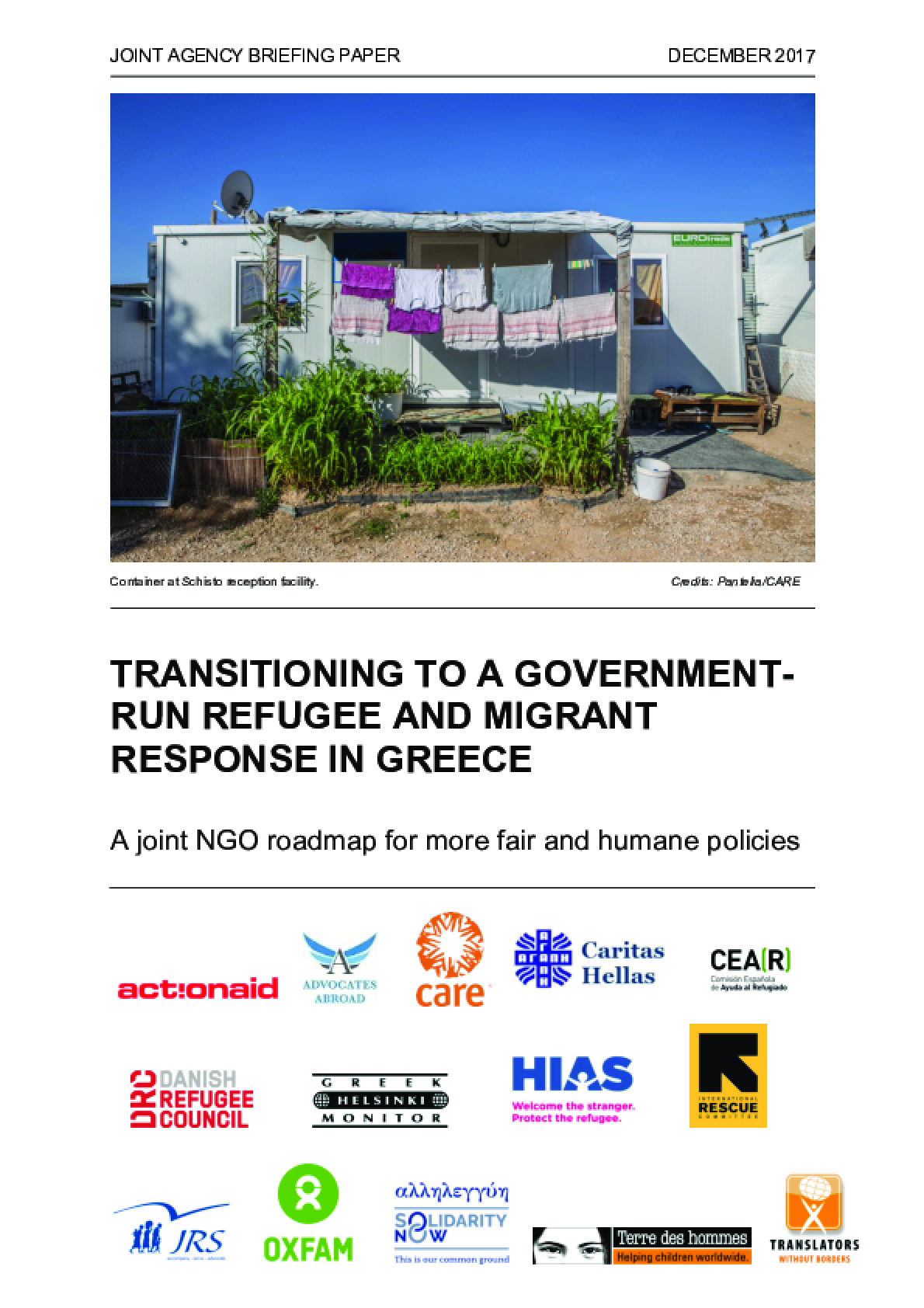 Transitioning to a Government-Run Refugee and Migrant Response in Greece: A joint NGO roadmap for more fair and humane policies