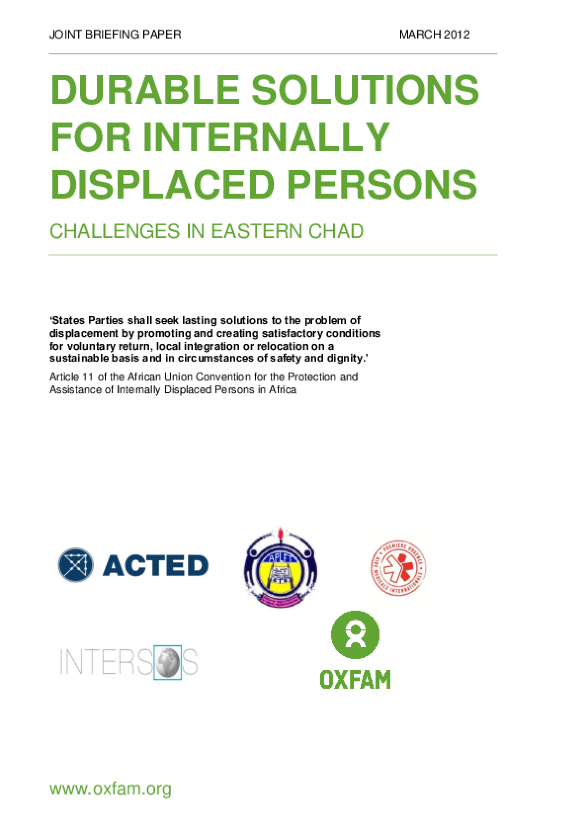 Durable Solutions for Internally Displaced Persons: Challenges in eastern Chad