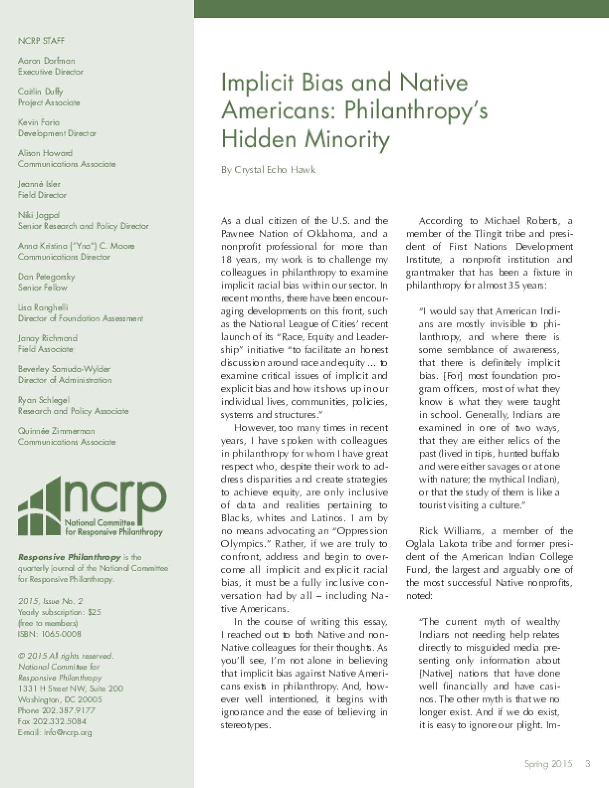 Implicit Bias and Native Americans: Philanthropy's Hidden Minority