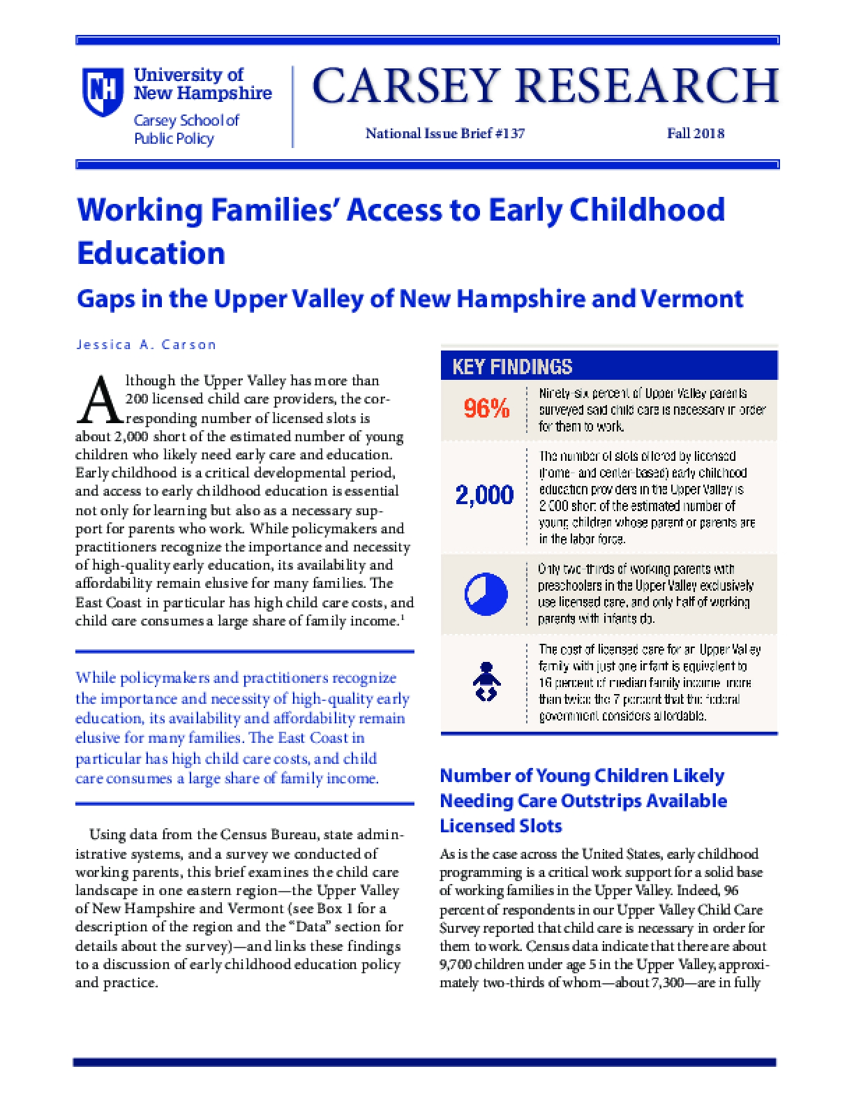 Working Families' Access to Early Childhood Education