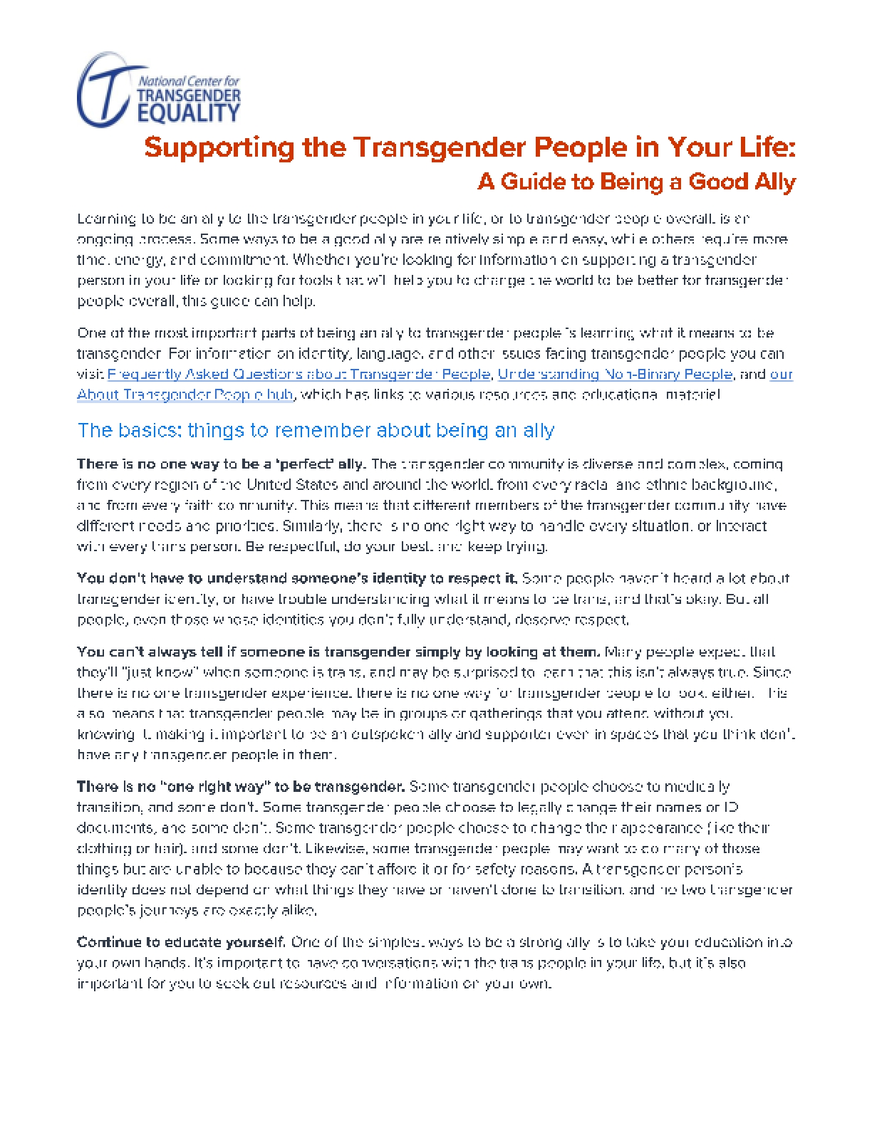 Supporting the Transgender People in Your Life: A Guide to Being a Good Ally
