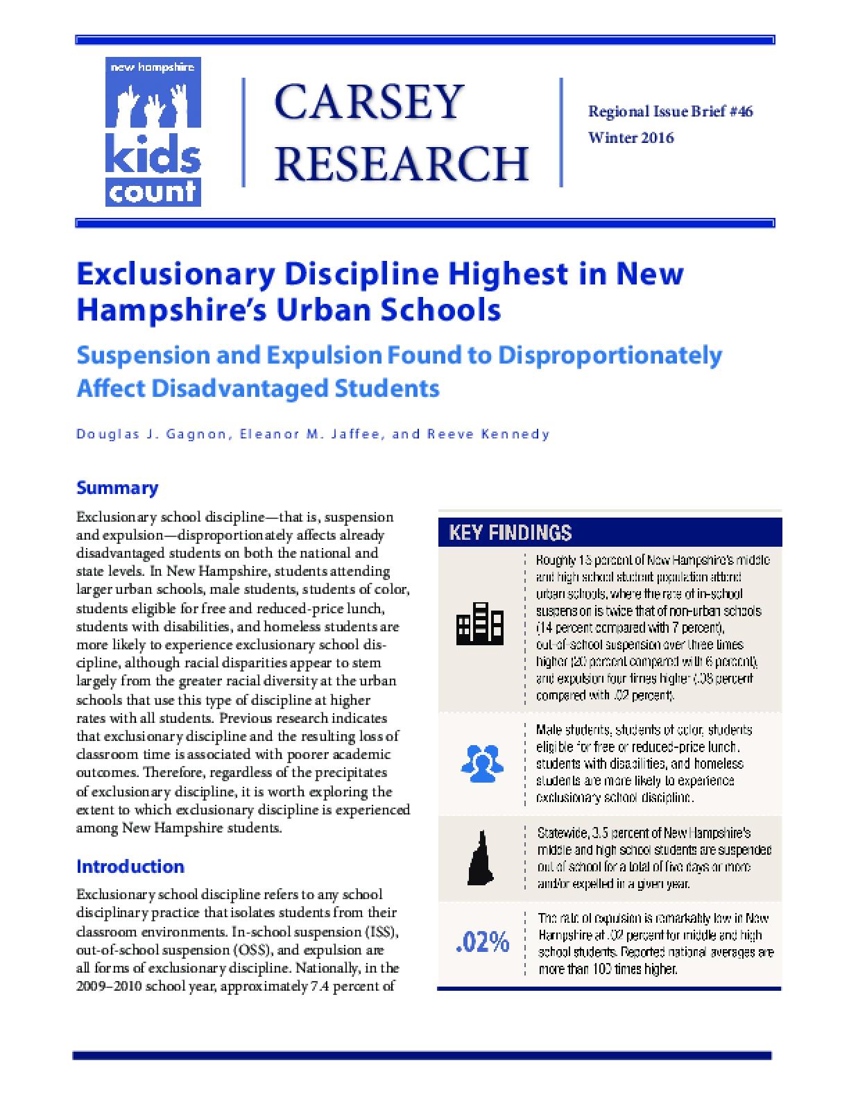Exclusionary Discipline Highest in New Hampshire's Urban Schools
