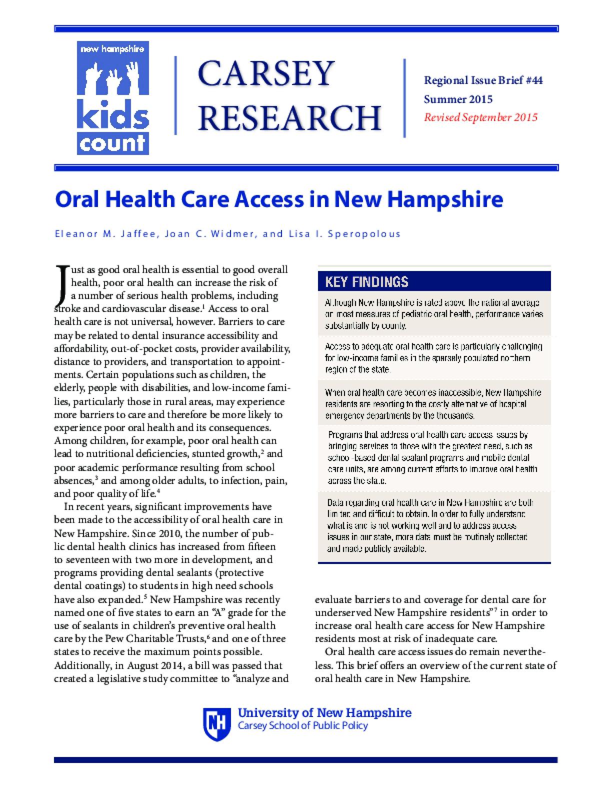 Oral Health Care Access in New Hampshire