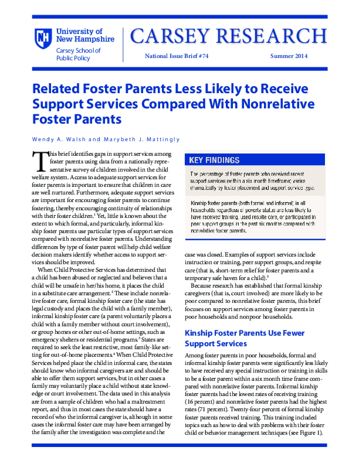 Related Foster Parents Less Likely to Receive Support Services Compared With Nonrelative Foster Parents