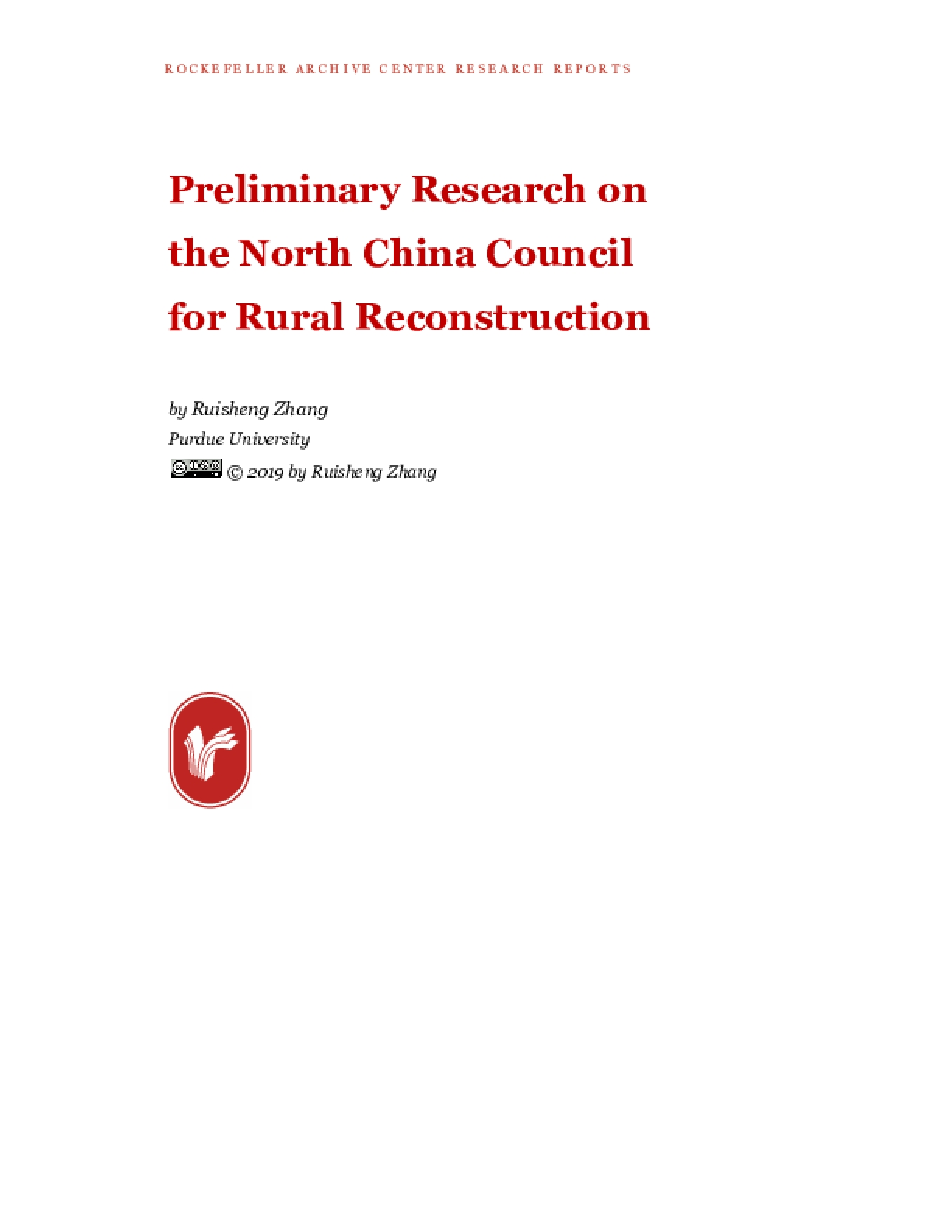 Preliminary Research on the North China Council for Rural Reconstruction