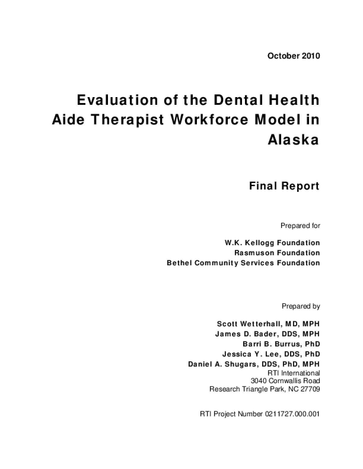 Evaluation of the Dental Health Aide Therapist Workforce Model in Alaska (Final Report)